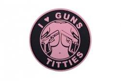Naszywka 3D - I Love Guns Titties - różowa
