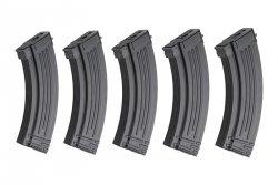 Zestaw 5 magazynków Hi-Cap 500 kulek do replik typu AK - Czarny