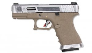 WE - Replika G19 T8 - Silver Slide - Silver Barrel - Tan Frame