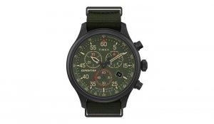 Timex - Zegarek Field z chronografem i tachymetrem - Zielony -TW2T7280