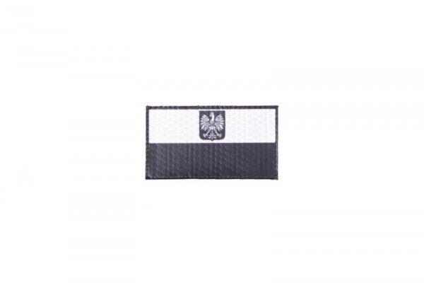 Naszywka IR - Flaga Polski z godłem - czarno/biała