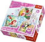 Puzzle 3w1 Trefl T-34842 Księżniczki - Roszpunka - Aurora i Ariel