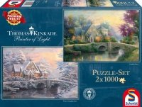 Puzzle 2x1000 Schmidt 59468 Thomas Kinkade - Lamplight Wiosna Zima