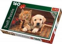 Puzzle 160 Trefl 15270 Pies i Kot - Razem Raźniej