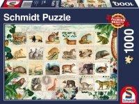 Puzzle 1000 Schmidt 58285 Kolekcja Znaczków - Zwierzęta