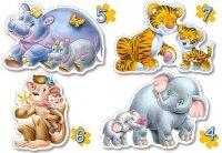 Puzzle 4,5,6,7 Castorland B-04249 Dzikie Zwierzęta z Młodymi
