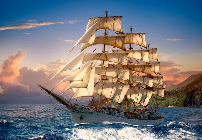 Puzzle 1500 Castorland C-151431 Żaglowiec - Sailing at Sunset_01