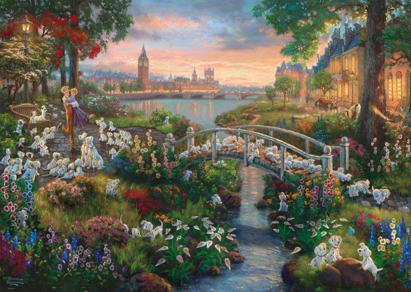 Puzzle 1000 Schmidt 59489 Thomas Kinkade - 101 Dalmatyńczyków - Disney