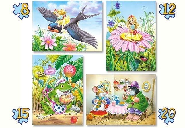 Puzzle 8,12,15,20 Castorland B-04270 Calineczka