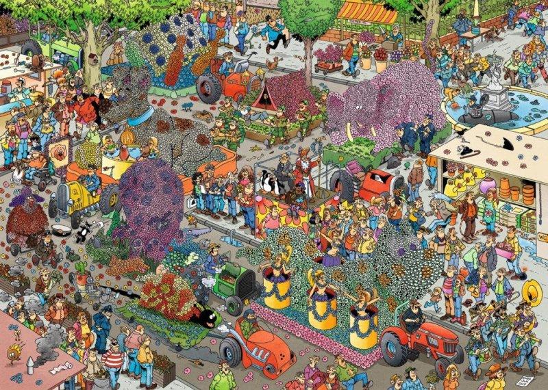 Puzzle 1000 Jumbo 19071 Jan Van Haasteren - Parada Kwiatów