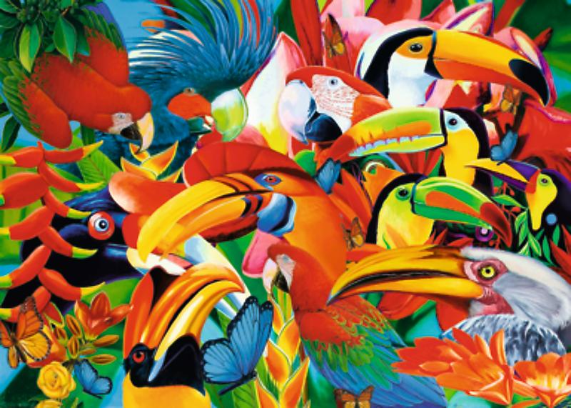 Puzzle 500 Trefl 37328 Kolorowe Ptaki