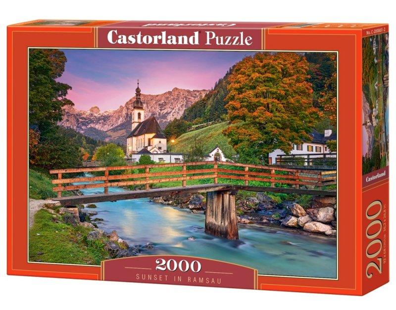 Puzzle 2000 Castorland C-200801 Zachód Słońca w Ramsau