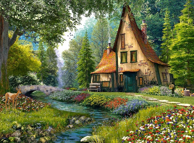 Puzzle 2000 Castorland C-200634 Cottage - Magiczna Chata