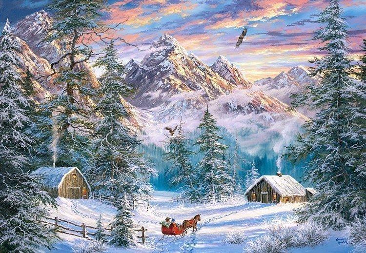 Puzzle 1000 Castorland C-104680 Boże Narodzenie w Górach
