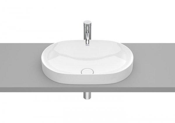 Inspira Umywalka blatowa cienkościenna Round  Wymiary:  Szerokość: 550 mm.  Głębokość: 370 mm.  Wysokość: 75 mm