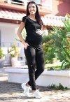 MijaCulture Wygodne spodnie dresowe ciążowe ZOE M002 czarny2