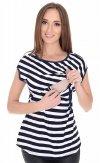 MijaCulture - 2 w1 bluzka ciążowa i do karmienia w paski 4093/M65 biały/granat 2