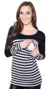 2 w1 bluzka ciążowa i do karmienia w paski 4021/M39 czarny 2