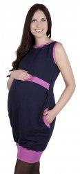 """MijaCulture - 2 w1 sukienka ciążowa i do karmienia  """"Fiona"""" 7111  ciemny granat/róż"""