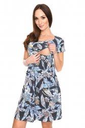 MijaCulture - zjawiskowa sukienka 2 w 1 ciążowa i do karmienia Lulu czarna/kwiaty