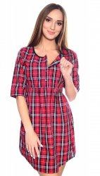 MijaCulture - koszula rozpinana 2 w 1  kratka 4076/M60 biały/czerwony