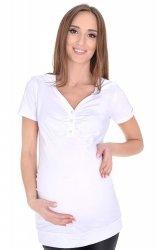MijaCulture - bluzka 2 w 1 ciążowa i do karmienia krótki rękaw M09/3080 biały
