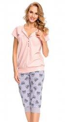 Wygodna piżama 2 w 1 ciążowa i do karmienia 5063  jasno różowy