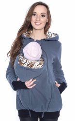 MijaCulture - 3 w1 polar  ciążowy i do noszenia dziecka 4018A/M22 ciemny szary Nr 2