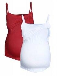 MijaCulture - zestaw dwóch topów ciążowych i do karmienia M46/4089 biały/bordo