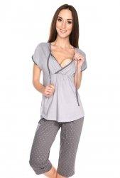 MijaCulture - piżama 3 w 1 ciążowa i do karmienia 4117/M77 melanż/szary