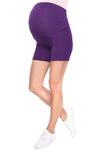 Wygodne krótkie legginsy ciążowe Mama Mia fioletowy