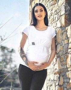 MijaCulture - bluzka 2 w 1 ciążowa i do karmienia krótki rękaw M03/3074 biały