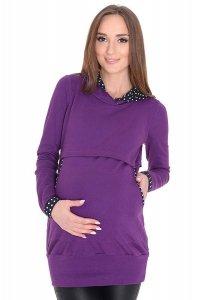 MijaCulture - 3 w1 bluza ciążowa i do karmienia z kapturem 3077/M07 fiolet