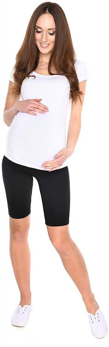 Wygodne krótkie legginsy ciążowe Mama 1052/2 komplet czarny/biały3