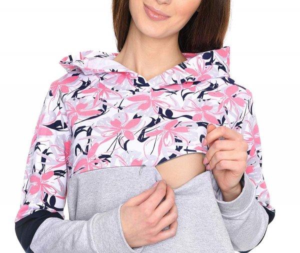 """MijaCulture - 3 w 1 bluza ciążowa i do karmienia """"Jane"""" 7144 melanż/kwiaty 4"""