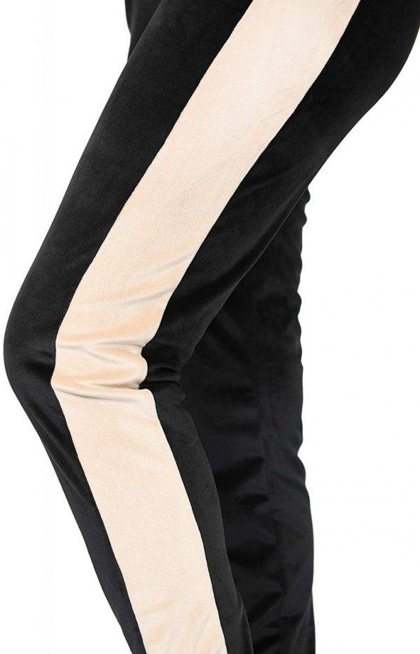 Wygodne spodnie ciązowe dresowe welurowe 9096 czarny/beż4