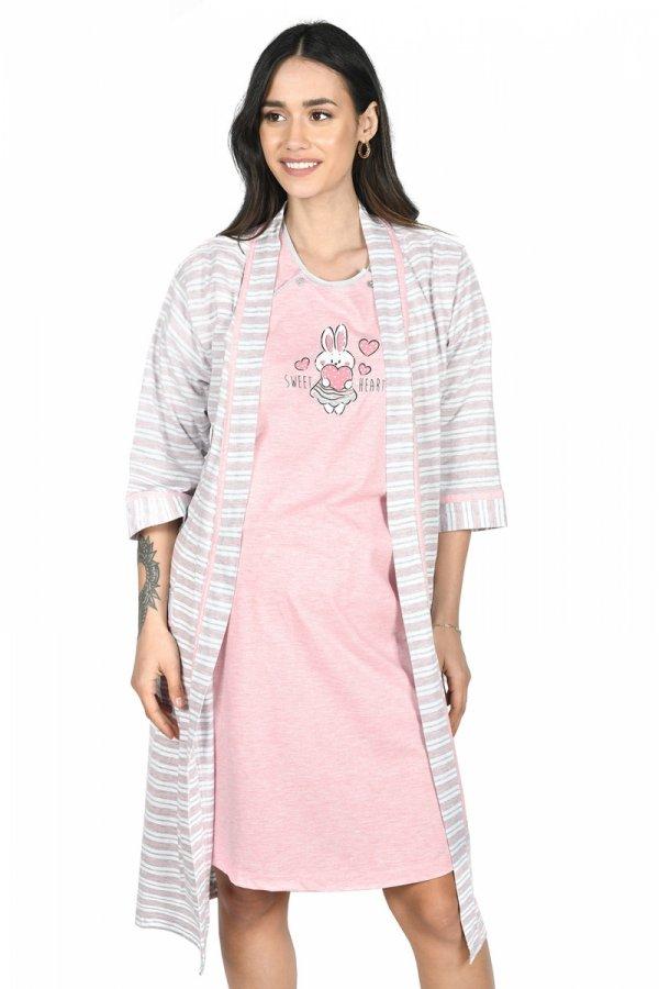 MijaCulture - 2 w 1 komplet koszula nocna i do karmienia + szlafrok 2075 róż królik