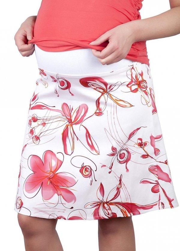 MijaCulture - spódnica ciążowa w kwiaty 1044/M64 różowy 1