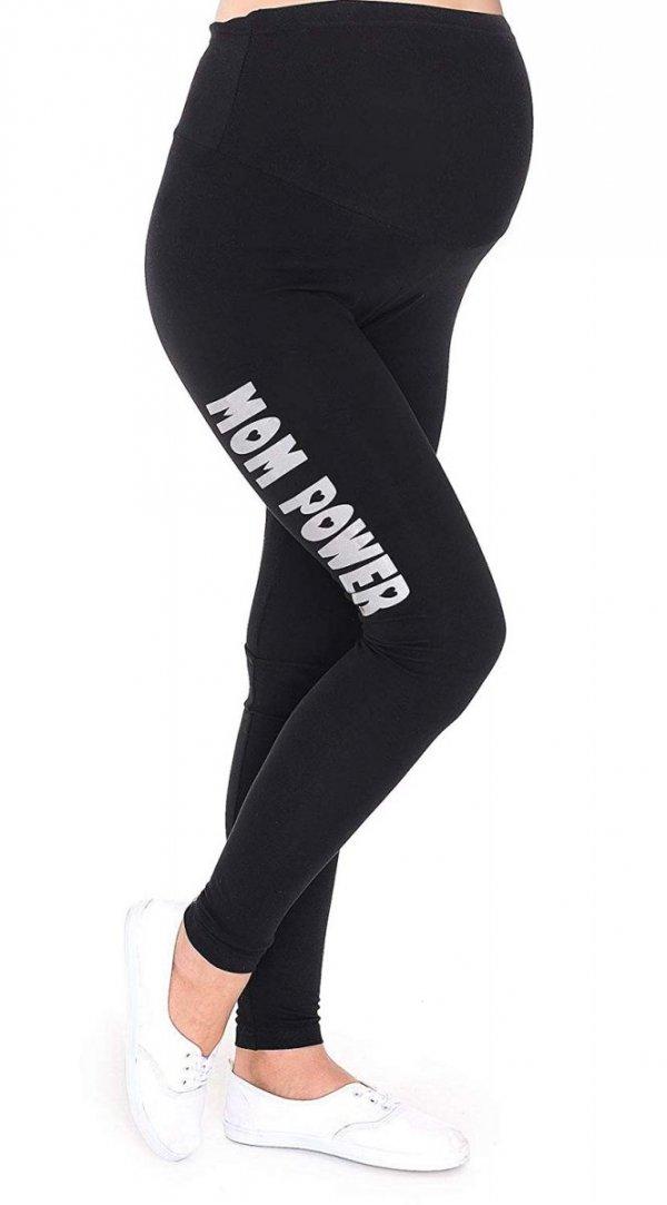 """Wygodne legginsy ciążowe z nadrukiem """"Mom Power"""" 9085 czarny 1"""