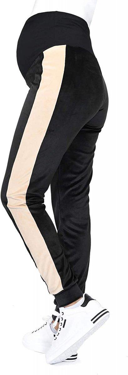 Wygodne spodnie ciązowe dresowe welurowe 9096 czarny/beż1
