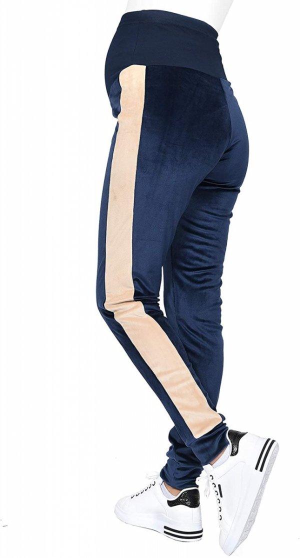 Wygodne spodnie ciązowe dresowe welurowe 9096 granat/beż1