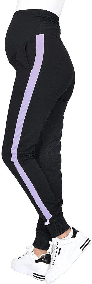 MijaCulture Wygodne spodnie dresowe ciążowe Coco M003 czarny/fiolet3