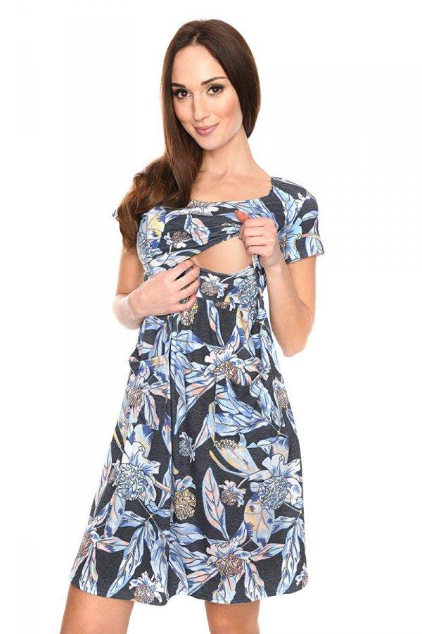 """MijaCulture - zjawiskowa sukienka 2 w 1 ciążowa i do karmienia """"Lulu"""" czarna/kwiaty 1"""
