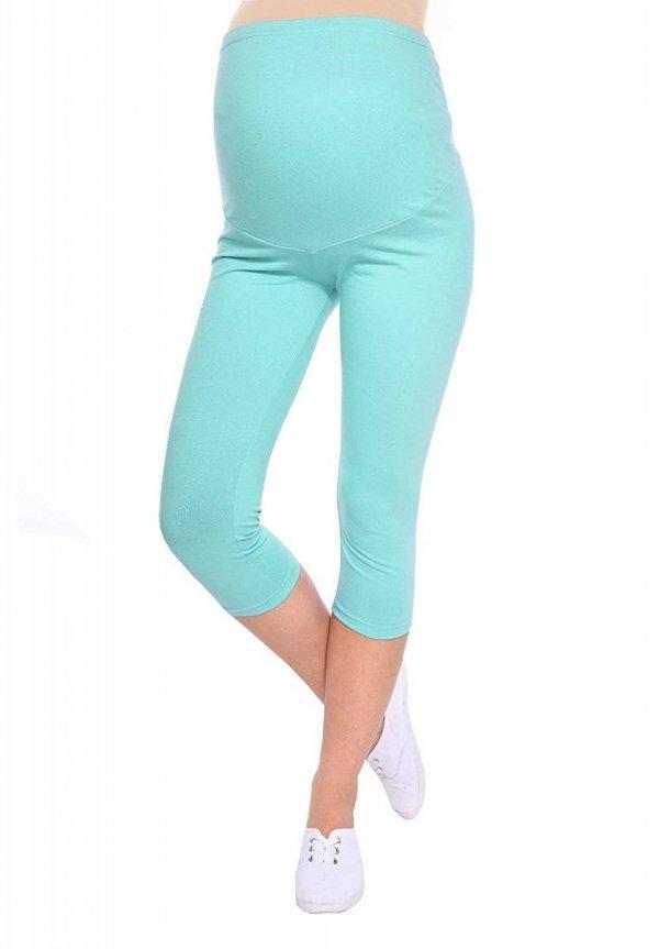 Komfortowe legginsy ciążowe 3/4 mięta
