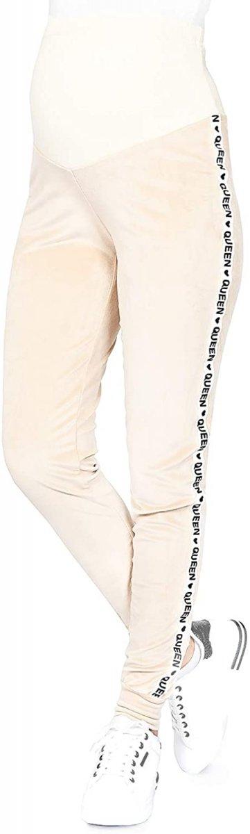 Wygodne spodnie ciązowe dresowe welurowe  9096 beż/queen3