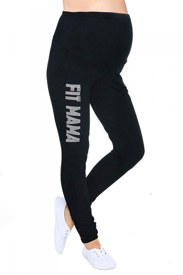 """Wygodne spodnie ciązowe dresowe """"Fit Mama"""" 9077 czarne 1"""
