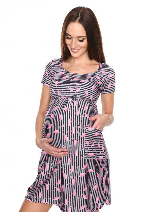 """MijaCulture - zjawiskowa sukienka 2 w 1 ciążowa i do karmienia """"Lulu"""" flamingo 1"""