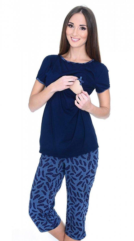 MijaCulture - piżama 3 w 1 ciążowa i do karmienia 4119/M69 granat/piórka 1