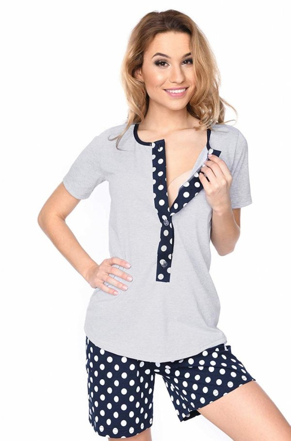 MijaCulture - 3 w 1 piżama ciążowa i do karmienia 4030/M47 melanż/kropki 2