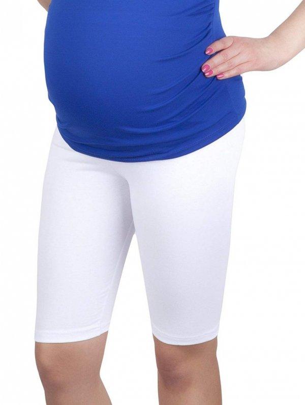 MijaCulture - wygodne krótkie legginsy ciążowe 4008/M25 biały 1